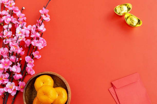 flat lay chinese new year background - chinese new year stock pictures, royalty-free photos & images