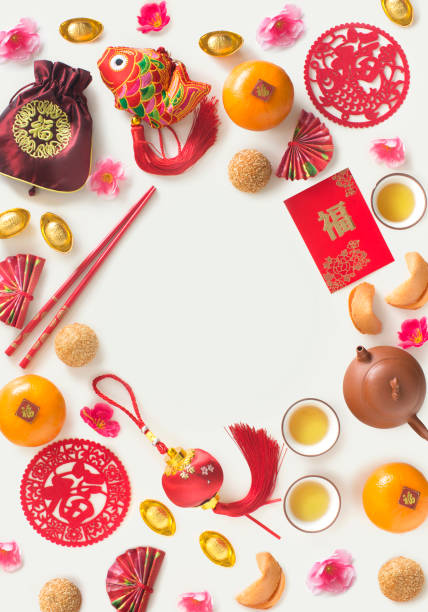 Flat lay Chinese new year decoration text space image. stock photo