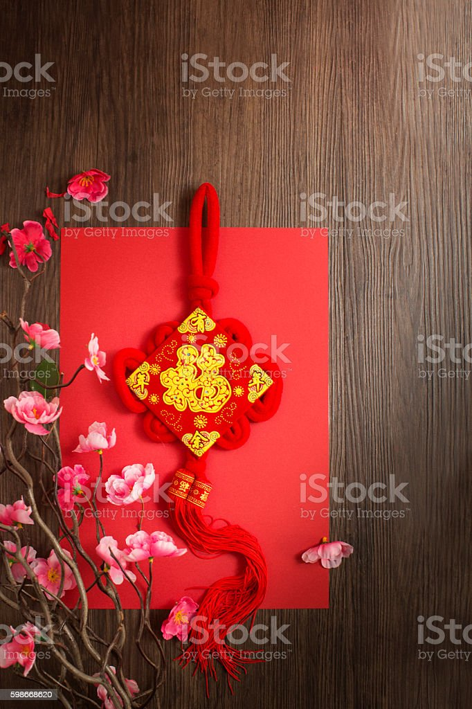 Flat lay Chinese new year ornament. stock photo