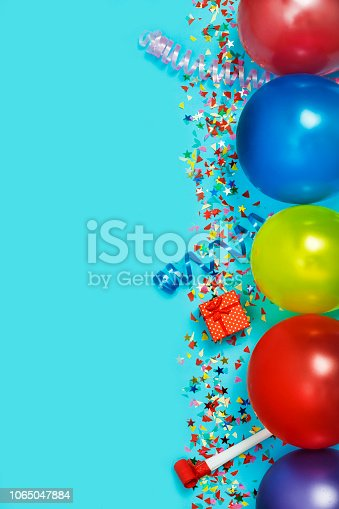 istock Flat Lay, Colorful, celebration, background. gift boxes, balloons, confetti, top view. Copy space. 1065047884