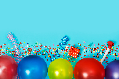 istock Flat Lay, Colorful, celebration, background. gift boxes, balloons, confetti, top view. Copy space. 1065047920