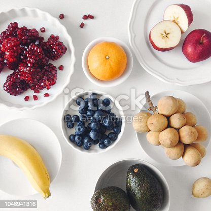 istock Flat lay colorful mixed fruit 1046941316