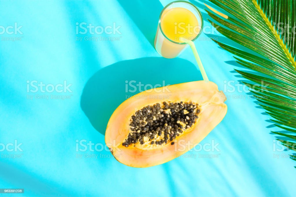 Flat Lay Composition Tall Glass with Fresh Tropical Fruit Juice Halved Papaya Palm Leaf on Blue Background. Harsh Midday Light Sunlight Leaks. Summer Seaside Vacation Fashion Concept. Swimming Pool stock photo