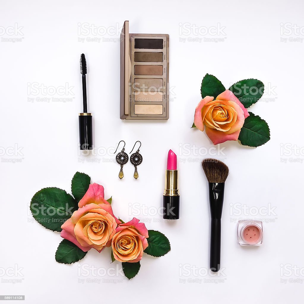 Flat lay composition with makeup and essential accessories. Top view stock photo