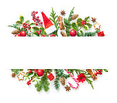 istock Flat lay composition with winter fir branches, cones, holly and Christmas decoration 1196144188