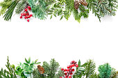 istock Flat lay composition with winter fir branches, cones, holly isolated on white background 1196144186