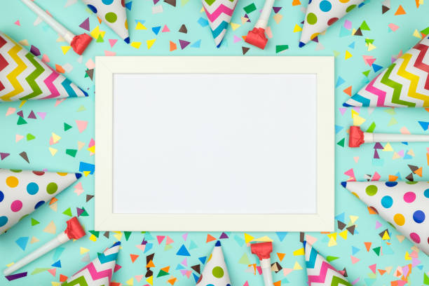 Flat lay decoration party concept on colored background White frame on colorful table top view. Mockup for planning birthday or party. Copy space for text. Flat lay. Festive greeting background birthday background stock pictures, royalty-free photos & images