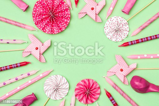 945748362istockphoto Flat lay decoration party concept on colored background with copy space top view 1189166024