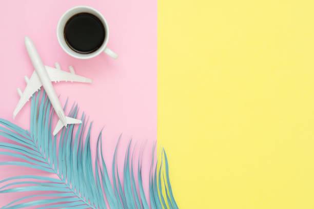 flaches laiendesign des reisens im sommer-konzept-top-ansicht von flugzeug, kokosblatt und kaffeetasse auf blanker rosa gelber pastell-farbbildschirm mit kopierplatz. reise auf sommerreise auf pastellfarbenem hintergrund. - rosa zitate stock-fotos und bilder