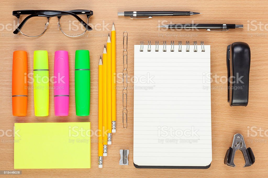 Flat lay display of an office worker's desktop stock photo