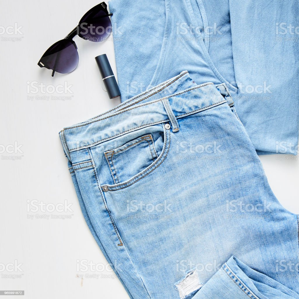flat lay feminine clothes and accessories collage - Royalty-free Arts Culture and Entertainment Stock Photo