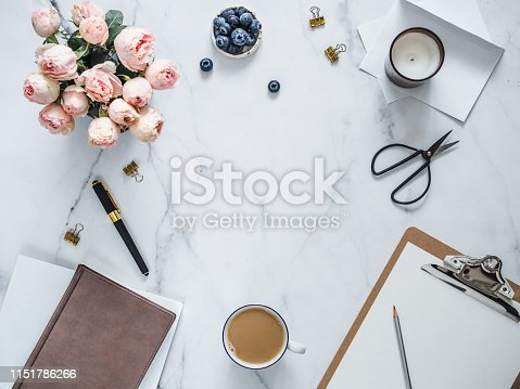 istock Flat lay, feminine home office. Copy space 1151786266