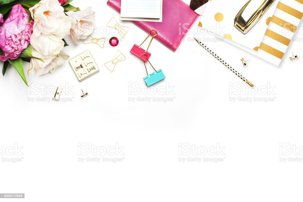 Flat lay. Feminine scene. Office background. Mock-up for your photo or text Place your work. Woman desktop, template card, Peonies and gold stationery. Gold Polka. Header website or Hero website. stock photo
