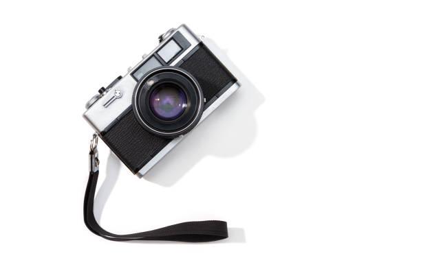 Flat lay film camera isolated on white background stock photo