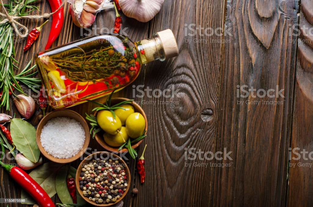 Flat lay Food background frame made of oils condiments and spices on...