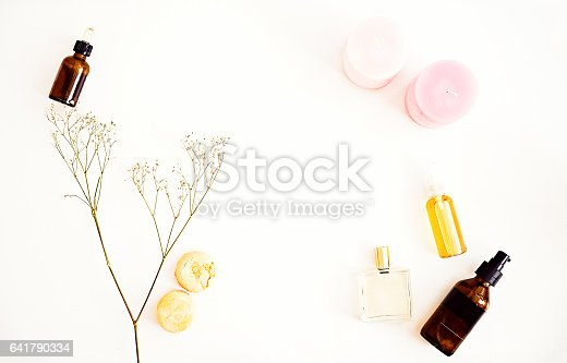 istock Flat lay for beauty blog, organic oils, cosmetics 641790334