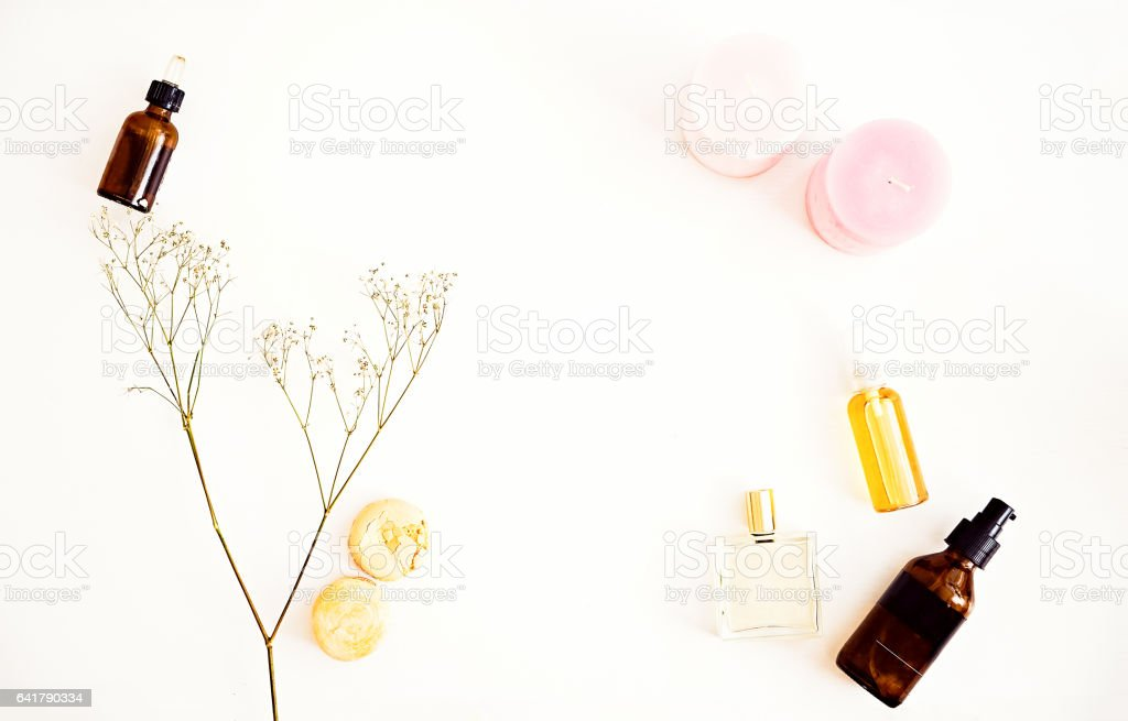 Flat lay for beauty blog, organic oils, cosmetics stock photo
