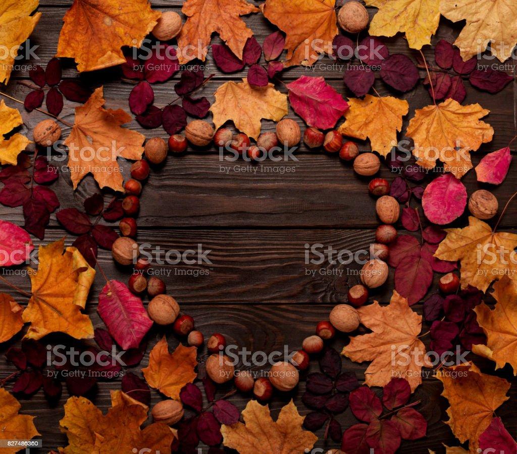Flache Laien Rahmen in Form eines Herzens aus Herbst Purpur und gelb Blätter, Haselnüsse und Walnüsse auf einem dunklen Hintergrund aus Holz. – Foto