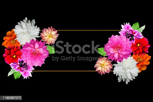655667160 istock photo Flat lay frame mockup with spring flowers on pink backgrounds - Top view 1160397072