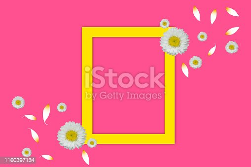655667160 istock photo Flat lay frame mockup with spring flowers on pink backgrounds - Top view 1160397134