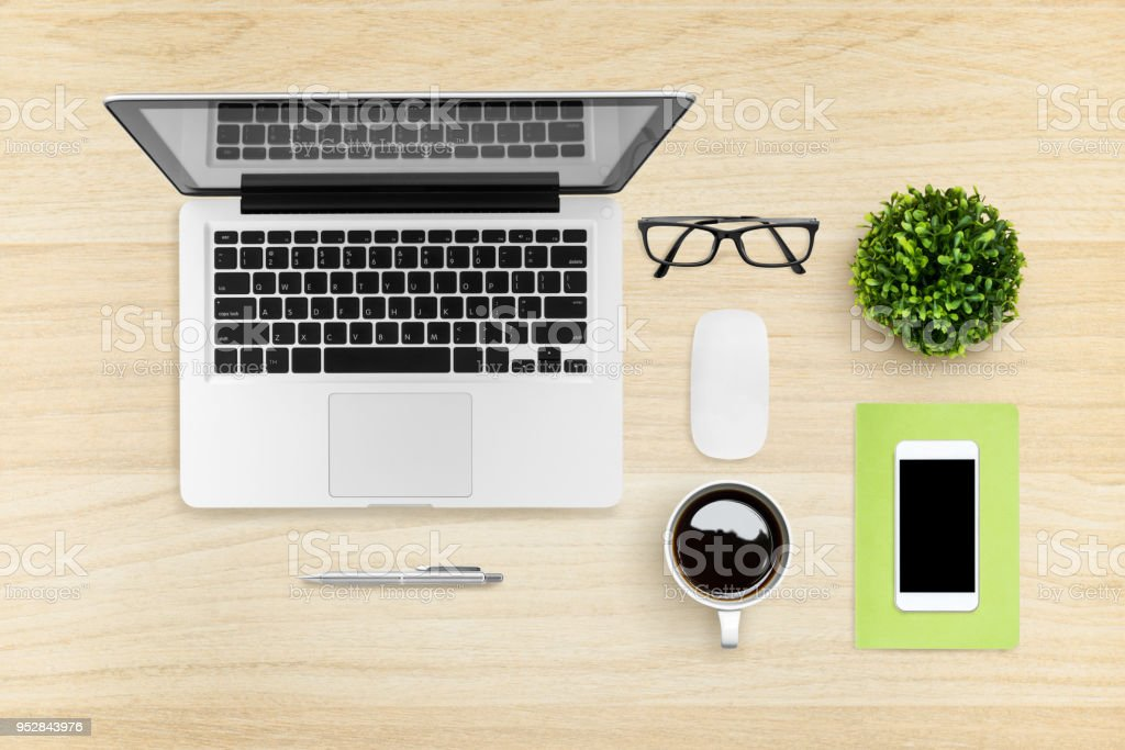 Flat Lay Image Of Hipster Office Desk Table With Laptop, Smartphone,  Gadgets And Supplies