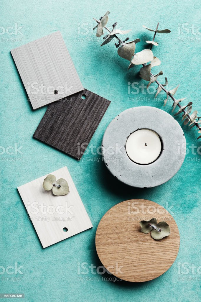 Flat lay interior decor objects for a color scheme mood board stock photo