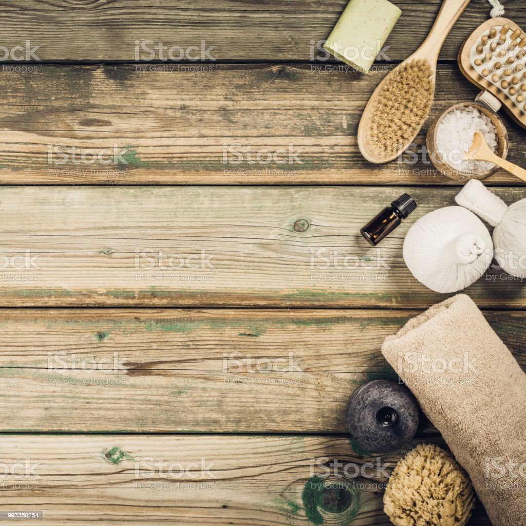 flat lay layout with natural cosmetic care products stock photo