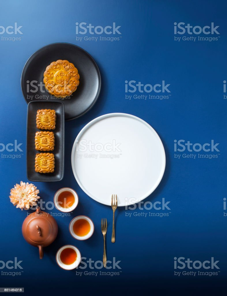 Flat lay mid-autumn festival food and drink still life. stock photo