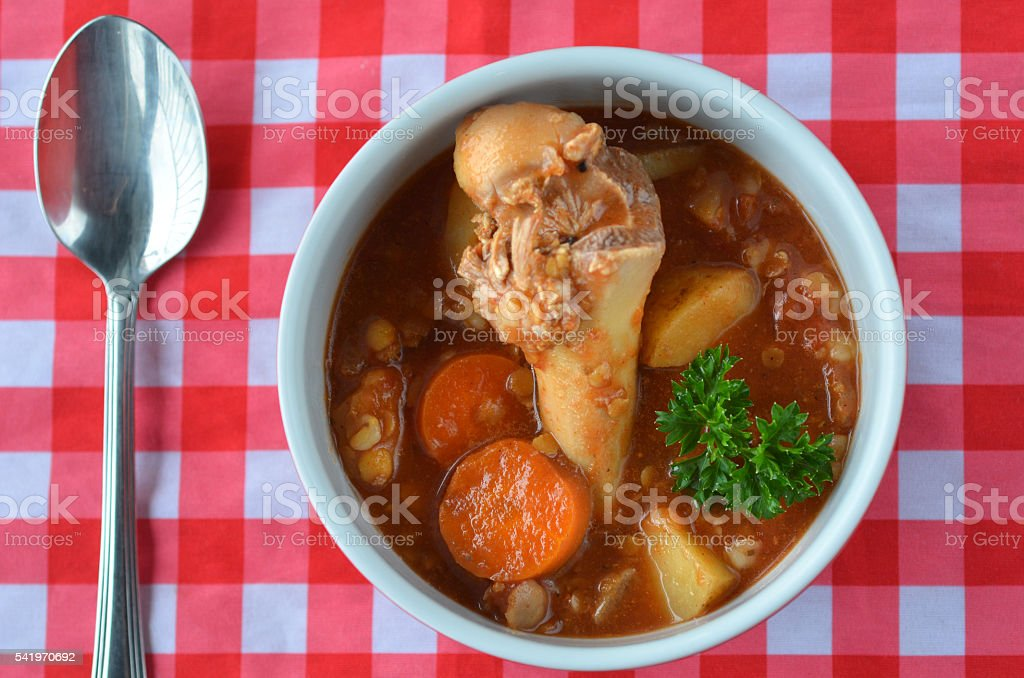 Flat lay of a homemade Bone Broth stock photo