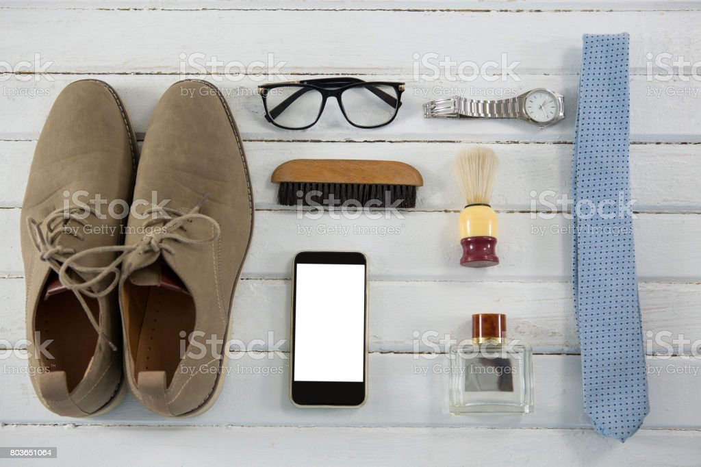 Flat lay of accessories on table stock photo