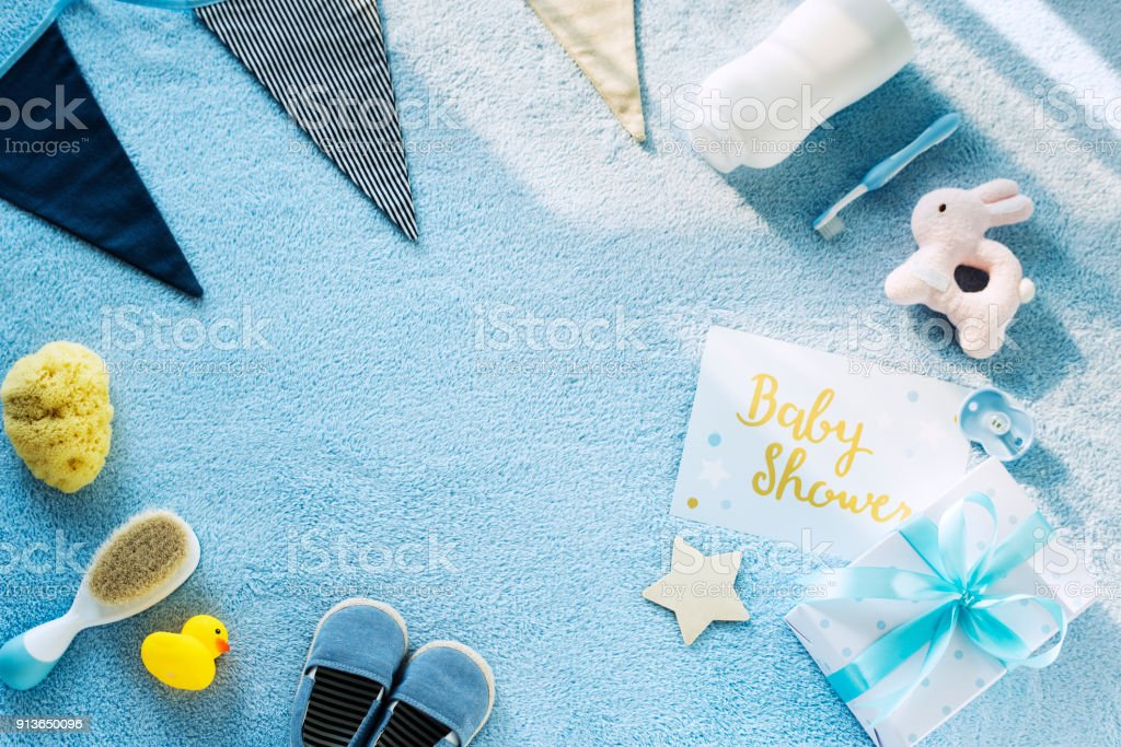 Flat lay of baby Shower stock photo