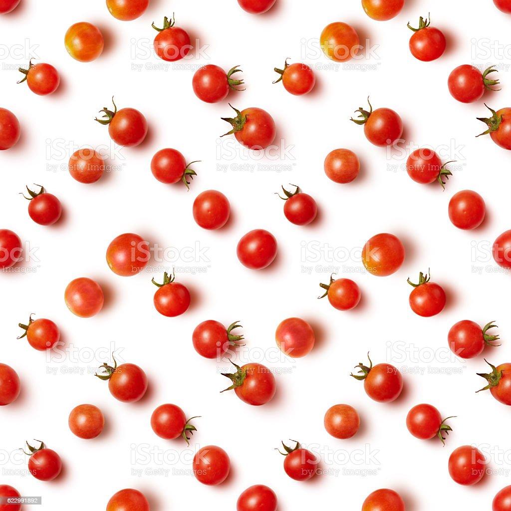 flat lay of beautiful trendy seamless pattern cherry tomato stock photo