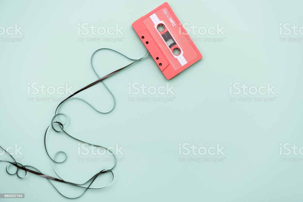 Flat lay of cassette tape stock photo