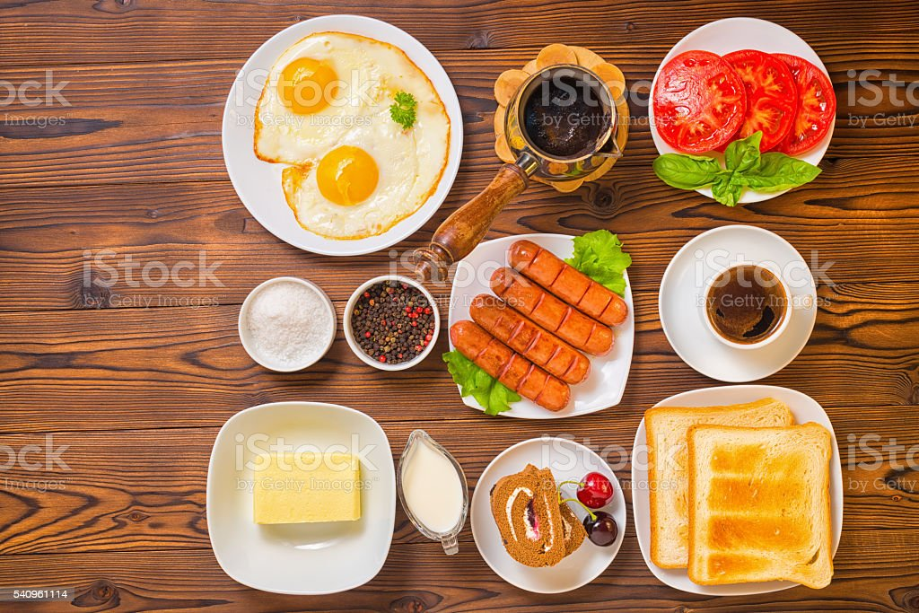 flat lay of concept breakfast with setting food products stock photo