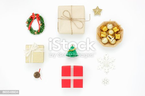 istock Flat lay of decoration & ornaments merry Christmas and happy new year concept.Variety objects prepare for the season.Essential accessories on the modern white background at home office studio. 865548604