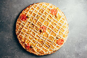 istock Flat lay of delicious pizza on gray background 1171560708
