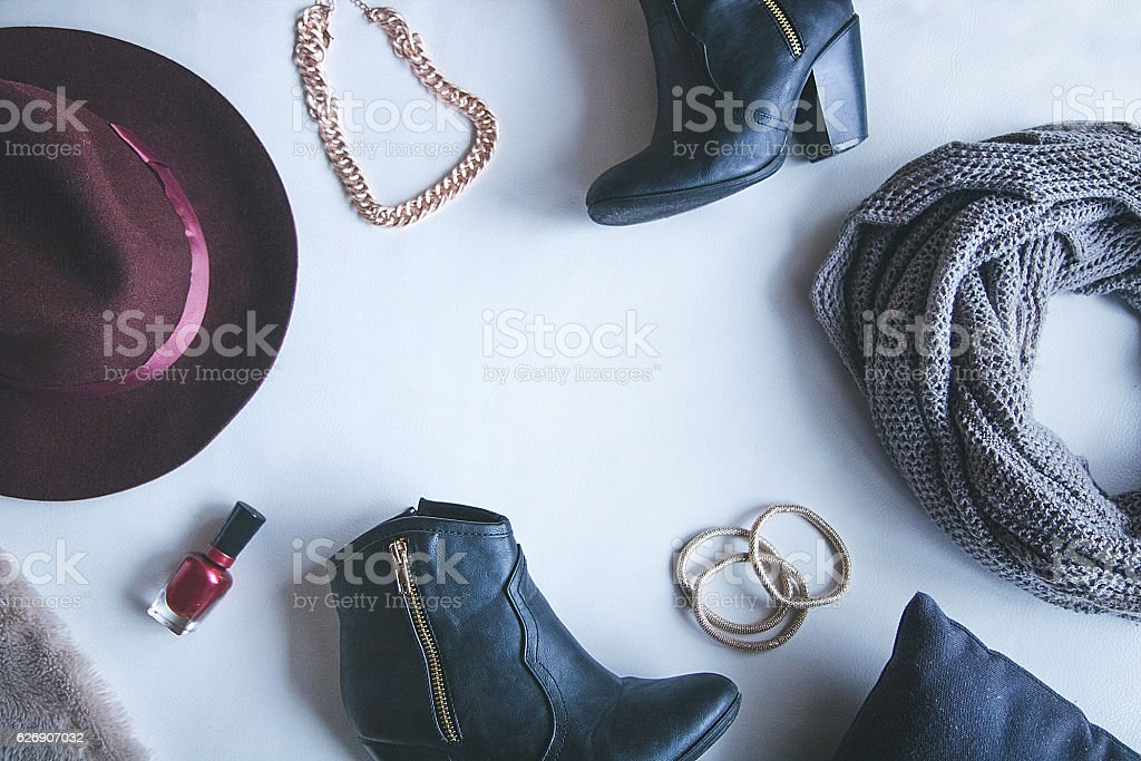 Flat Lay of Fashion Accessories stock photo
