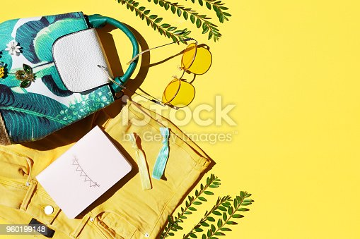 istock Flat Lay Of Female Holiday Clothing And Accessories 960199148