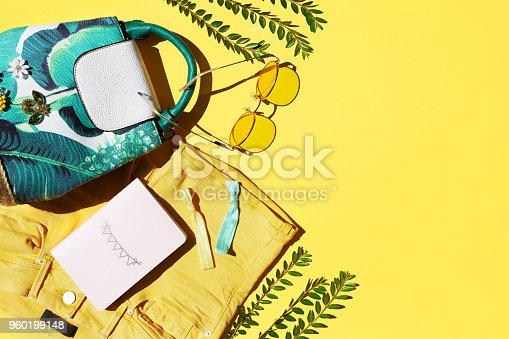 summer, fashion, women, clothing, yellow, backgrounds, sunglasses, backpack, shorts, notepad