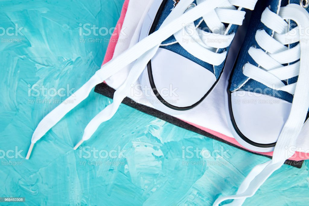 Flat lay of female sneakers shoes and tee royalty-free stock photo