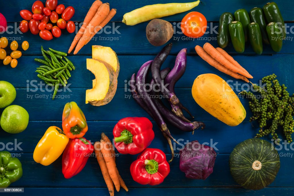 Flat lay of fresh fruits and vegetables for background, Different...