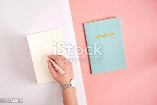 1147767708 istock photo Flat lay of hand writing in notebook 1222733615
