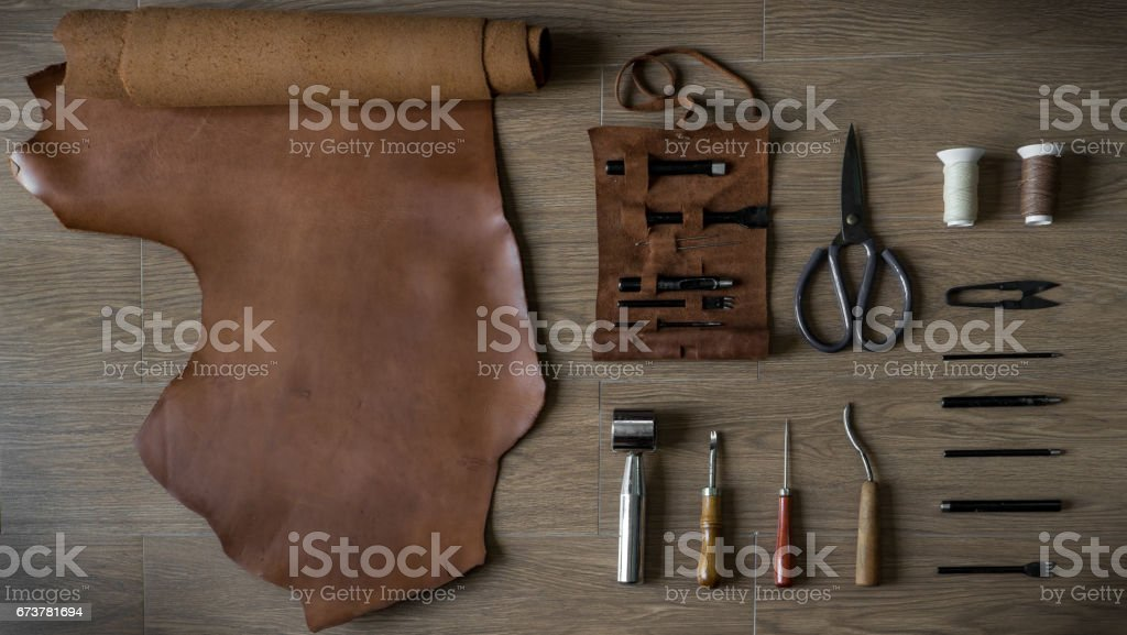 Flat Lay of Leather Craft Tools stock photo