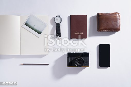 istock Flat lay of memories concept and accessories 865780230