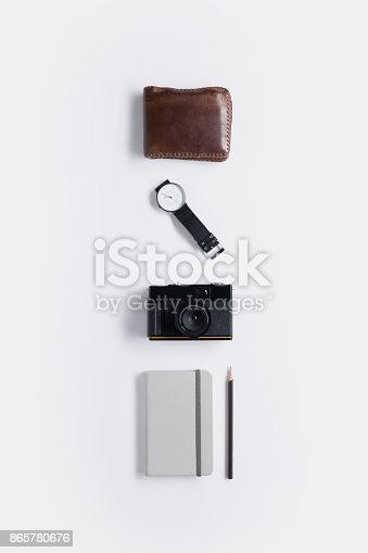 istock Flat lay of memories concept and accessories 865780676