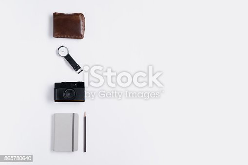 istock Flat lay of memories concept and accessories with copy space 865780640