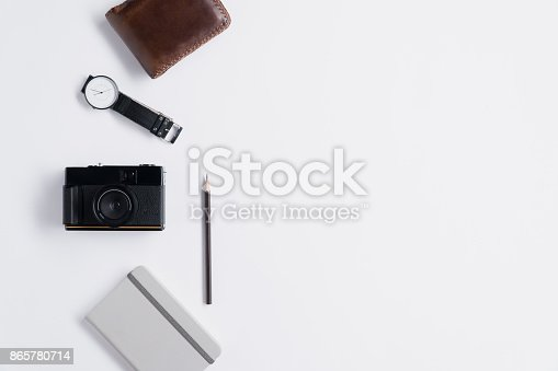 istock Flat lay of memories concept and accessories with copy space 865780714