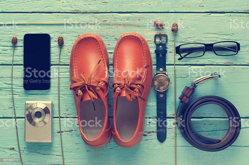 Flat lay of men's casual outfits, fashion accessory lifestyle on stock photo