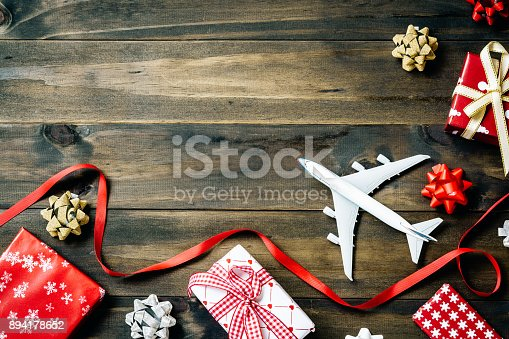 istock Flat lay of Merry Christmas and Happy new year and any holidy travel concept.  Traveling Christmas and Happy new year greeting card concept background with copy space top view. 894178652