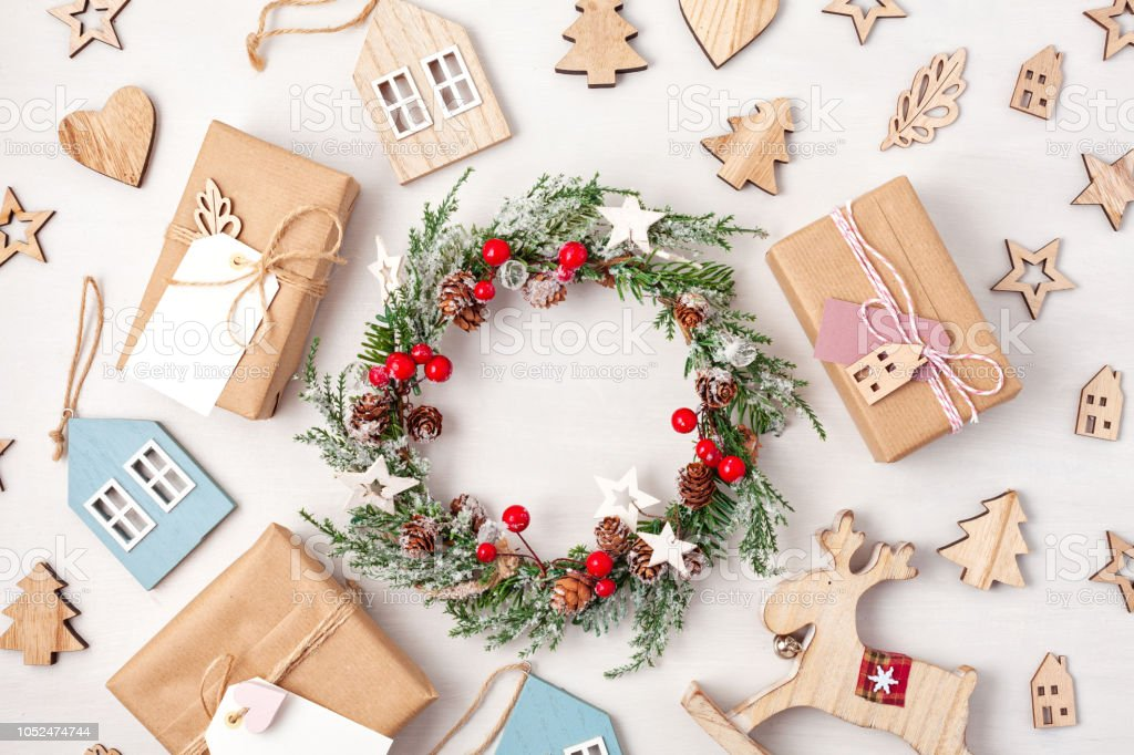 Minimalist Christmas.Flat Lay Of Morden Minimalist Christmas Gifts And Decoration In Pastel Colors Stock Photo More Pictures Of Above